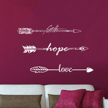 Wall Decals Quotes Faith Hope Love Arrow Quote Vinyl Sticker Decal Art Home Decor Feather Arrows Hipster Fashion Bohemian Bedroom AN708