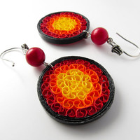 Paper jewelry – Bright paper earrings, red orange yellow black/ paper quilled earrings/ First anniversary gift/ colorful bold large earrings