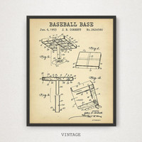 Baseball Base Patent Print, Digital Download, Gift For Baseball Coach, Players Room Decor, Baseball Field Poster, Man cave Wall Art, MLB