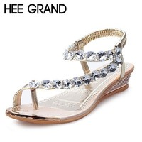 2018 Summer Style Sandals Bling Rhinestone Flats Women Platform Wedges Sandals Fashion Flip Flops Comfortable Shoes Woman XWZ791