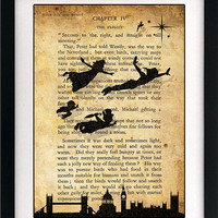 Peter Pan & Wendy Children Flying Art Book Print - 8x10 or 12x16 Large Vintage Page Effect Wall Quote.