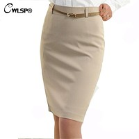 CWLSP 2018 Summer High Waisted Skirt Womens OL Formal Work wear Ladies Midi Skinny pencil Skirts with Belt Plus Size S-3XL