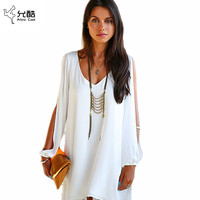 Summer Dress 017 casual Plus Size Women Clothing Long sleeve solid color Chiffon V Dress Vestidos Beach Dress Loose V-neck dress