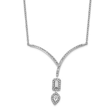 14k White Gold Real Diamond Pear/Emerald Shape Dangle 18in Necklace