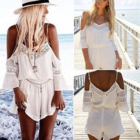 2016 Womens Lace Chiffon Jumpsuit Rompers Summer Sexy Strap Off Shoulder Backless Bodysuit Beach Wear Playsuit Short Overalls