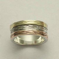 Wedding band Sterling silver band with yellow and by artisanlook