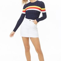 Ribbed Multicolor Striped-Trim Top