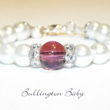Birthstone and Pearl Bracelet with Crystal Rondelles
