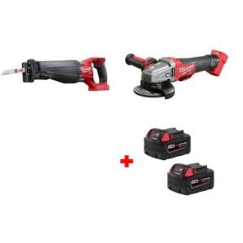 Milwaukee M18 FUEL 4-1/2 in./5 in. Braking Grinder and M18 FUEL SAWZALL Reciprocating Saw with Free M18 5.0 XC Battery (2-Pack) 2783-20-2720-20-48-11-1852 at The Home Depot - Mobile