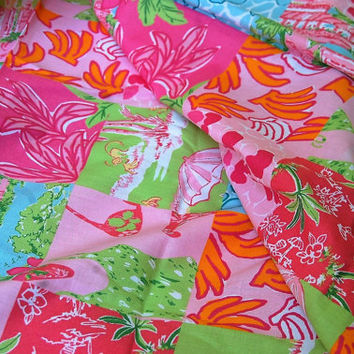 """Lilly Pulitzer Tropical Palm Beach Patchwork Cotton Print 3 yds x 44"""""""
