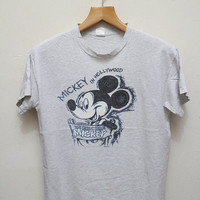 15% SALES Vintage MICKEY MOUSE In Hollywood T Shirt Gray Size M