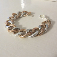 Rose Gold and Silver Two Tone Chain Bracelet / Ombre two toned chain link thick chunky bracelet