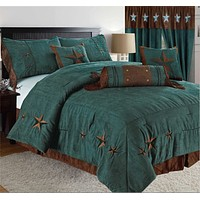 Rustic Turquoise Embroidery Star Western Microsuede Comforter - 7 Piece Set