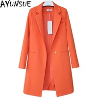 Women Long One Button  Coat/ Blazer In Solid Colors