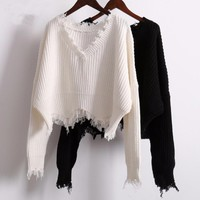 TORN Cropped Sweater