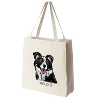 Border Collie Color Portrait Design Extra Large Eco Friendly Reusable Cotton Canvas Tote Bag