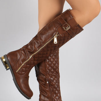 Quilted Zipper Trim Buckle Riding Knee High Boot