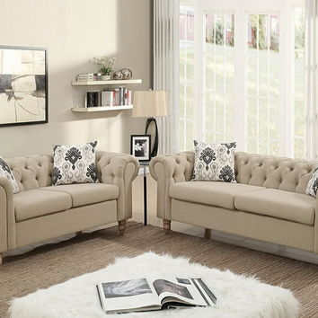 Poundex F6965 2 pc Masterpiece collection sand plush linen like fabric upholstered sofa and love seat with tufted backs