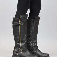 Nature Breeze Vivienne-01 Studded Quilted Leatherette Buckle Round Toe Motorcycle Boots BLACK (8.5)