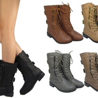 Womens Combat Military Boots Lace Up Buckle Fashion Boots Booties Shoes 5.5-10