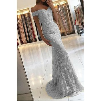 Silver Grey Lace Prom Dress, Evening Dress, Formal Dresses, Graduation School Party Dance Dress, DT0385
