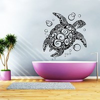 Wall Decal Turtle Sea Turtle Ocean Turtle Nautical Vinyl Sticker Decals Bathroom Home Decor Art Design Interior NS413