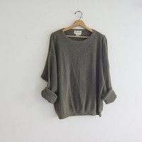 vintage army green sweater. slouchy sweater. textured cotton pullover. boyfriend sweater
