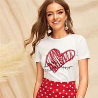 Ladies Simple Round Neck Graphic Print T Shirt Casual Minimalist Short Sleeve Letter Women Tshirt Tops