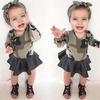 oddler Kids Baby Girls Party Pageant Camo Long Sleeve Tops PU Dress Outfits USA