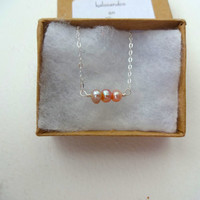 Dark Pink Freshwater Pearl and 925 Sterling Silver or Oxidized Sterling Silver Delicate Charm Necklace