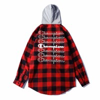 Champion New fashion back embroidery logo and back letter print hooded long sleeve sweater top Red