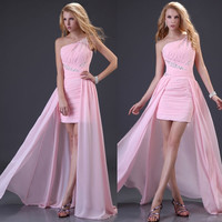 Grace Karin Long One Shoulder Bridesmaid Party Formal Cocktail Evening Dress Prom Gowns = 5738931777