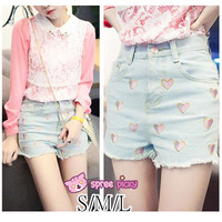 S/M/L Sweet Hearts Embroidery Denim Cowboy Hot Shorts SP152034