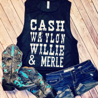Cash, Willie, Waylon & Merle- Flowy Scoop Muscle Shirt