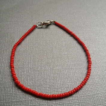Opaque Red Seed Bead Bracelet