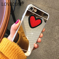DIY Stitches Love Heart Silver Mirror Soft TPU Phone Back Cover Case For iPhone 4 4S 5 5S SE 6 6S 7 Plus New Coque Best Gifts