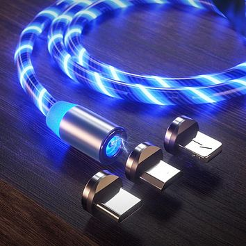Apple streamer magnetic data cable three-in-one Android type-C luminous mobile phone magnetic charging cable