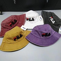 FILA Fashion New Embroidery Letter Women Men Sunscreen Leisure Cap Hat Red