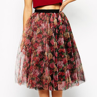 Floral Mid Skater Skirt with Mesh Cover-up