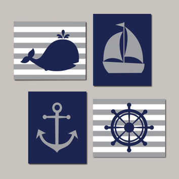 Nautical Nursery Wall Art, Navy Gray Nursery, Boy Nursery Decor, Kids Nautical Bathroom, Whale Anchor Sailboat Set of 4 Prints Or Canvas