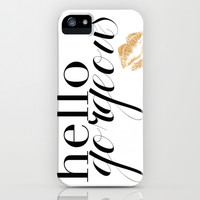 Hello Gorgeous Girly Art Print Chic Fashion Gold Lips iPhone & iPod Case by Prima Haven