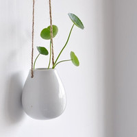 Black Egg Shape Ceramic Pottery Hanging Planter by MyLittlePlants