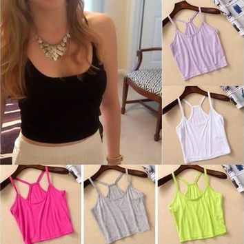 1PC Fashion Womens Girls Y Shape Strap Tank Top Vest Camisole Crop Shirt T Shirt [9305694407]