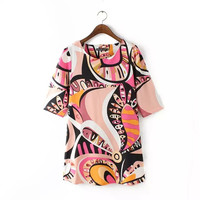 Summer Plus Size Women's Fashion Slim Abstract Print Skirt One Piece Dress [4917841668]