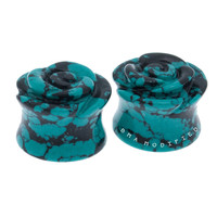 Rose Marbled Teal Plugs (8mm-16mm)