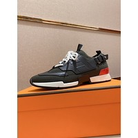 HERMES  Men Fashion Boots fashionable Casual leather Breathable Sneakers Running Shoes0523pp