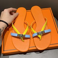 Hermes Fashionable Women Cute Beach Flip-Flops Slippers Sandals Shoes Orange