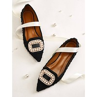 Point Toe Faux Pearl & Rhinestone Decor Flats
