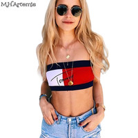 M.H.Artemis Chic Brand Design Sexy Bodycon Crop Top Slim Fit Red Scalloped Bralet All-match Beach Crop Top 90's Strap Camis Top