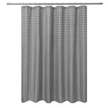 Barossa Design Fabric Shower Curtain Grey Hotel Grade, Water Repellent and Washable, 71 x 72 inches Brick Dobby Pattern for Bathroom Gray 71Wx72L